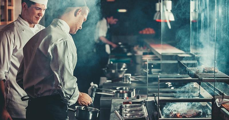 restaurant preparing meat